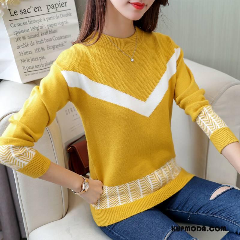 Swetry Damskie Sweter Eleganckie Proste Długi Rękaw Slim Fit Okrągły Dekolt Mieszane Kolory Żółty