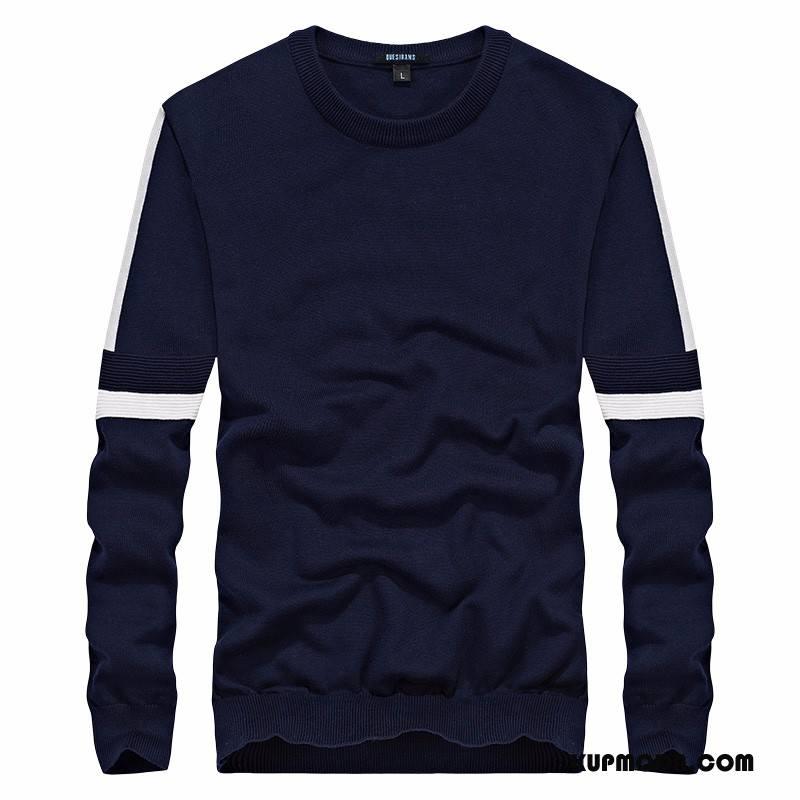 Swetry Męskie Bawełna Sweter Ciemno Niebieski