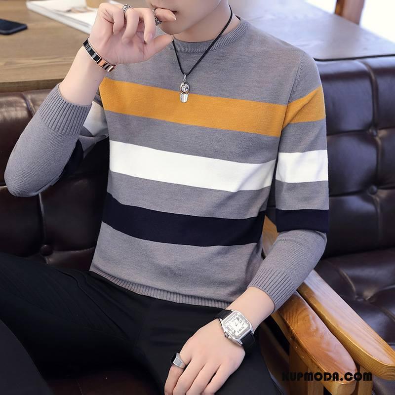 Swetry Męskie Długi Rękaw Pullover Proste Wiosna W Paski Męska Szary