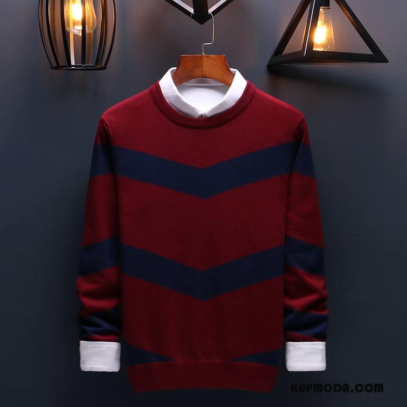 Swetry Męskie Jesień Sweter Tendencja Męska T-shirt Z Długim Rękawem Pullover Czerwony