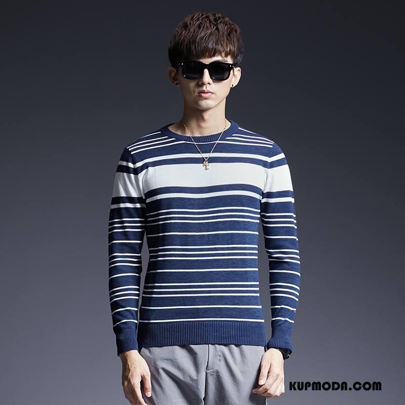 Swetry Męskie Jesień Sweter W Paski Męska Osobowość Slim Fit Niebieski