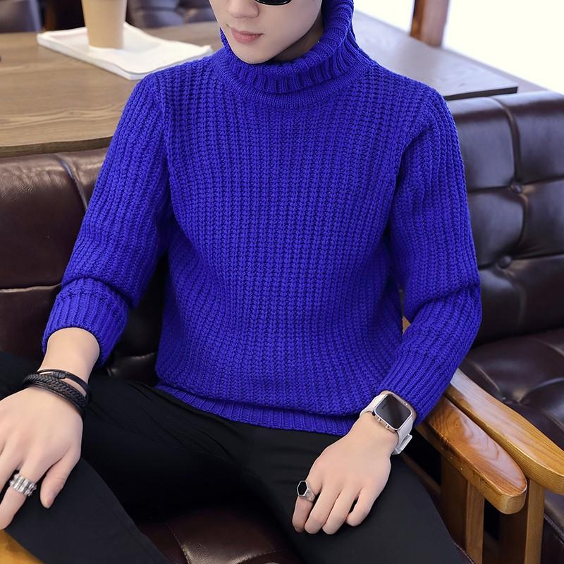 Swetry Męskie Jesień Sweter Zima Podkoszulek Dla Grubych Wysoki Kołnierz Niebieski