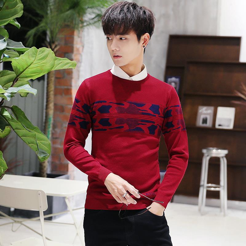Swetry Męskie Męska Tendencja Student Jesień College Sweter Czerwony