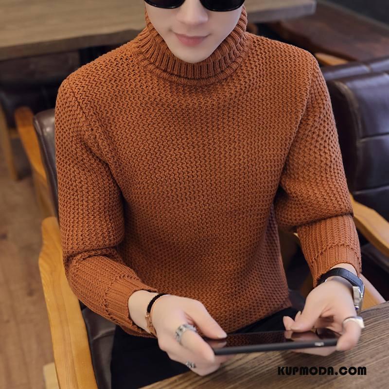 Swetry Męskie Męska Wysoki Kołnierz Tendencja Płaszcz Osobowość Nowy Oranż