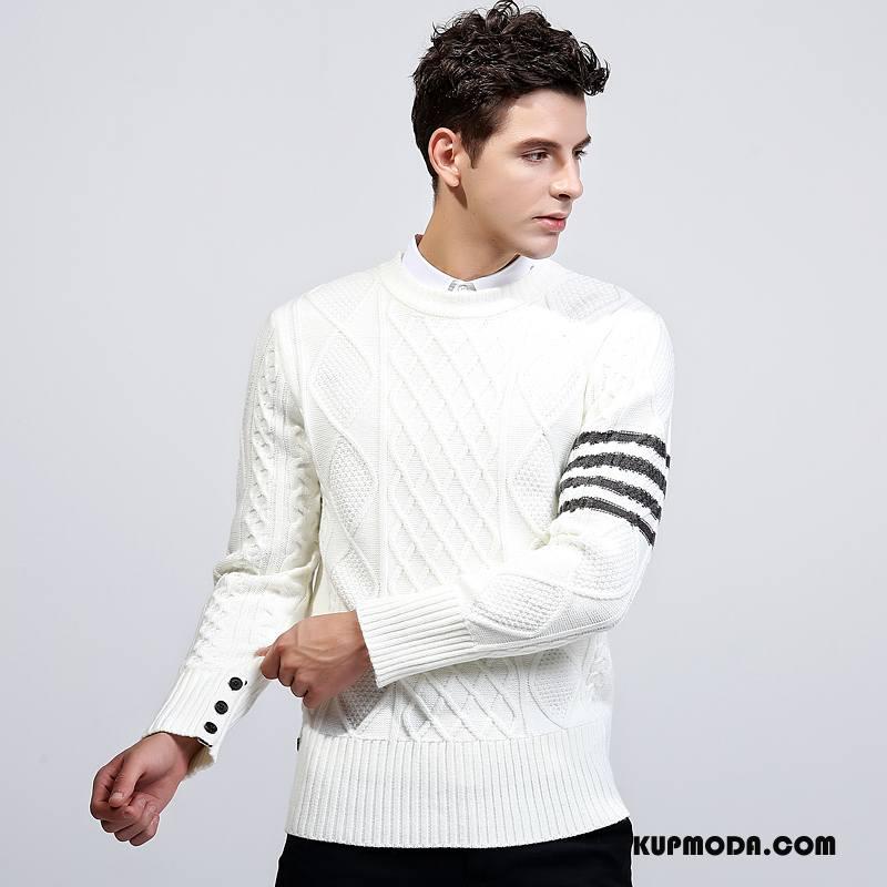 Swetry Męskie Nowy 2018 Sweter Rozpinany Biały