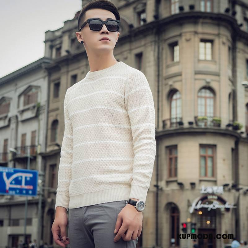 Swetry Męskie Nowy Sweter 2018 Biały