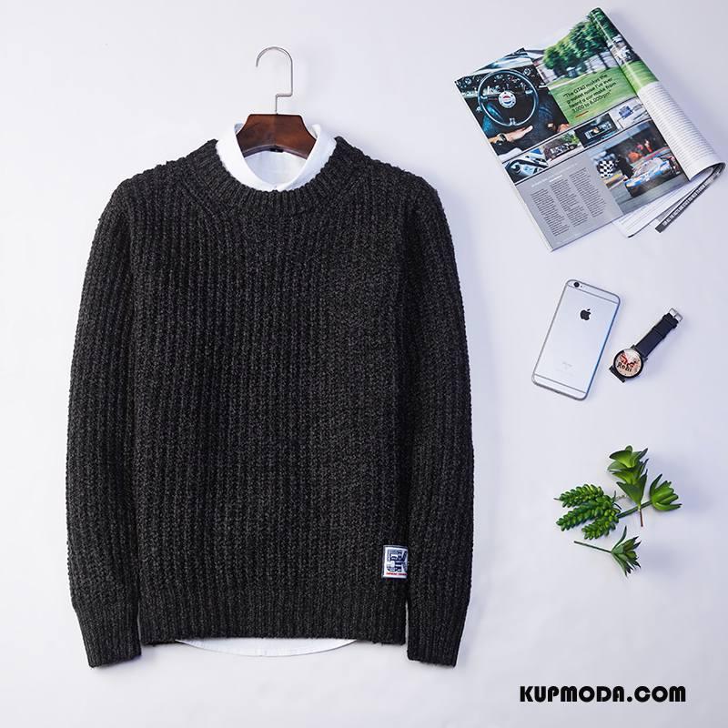 Swetry Męskie Płaszcz Jesień Pullover Zima Okrągły Dekolt Sweter Czarny