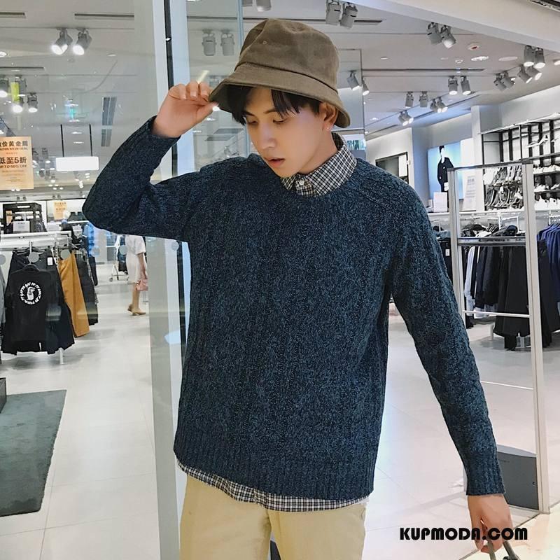 Swetry Męskie Pullover Sweter Męska Art Ciemno Niebieski