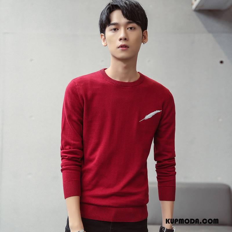 Swetry Męskie Sweter Nowy 2018 Czerwony