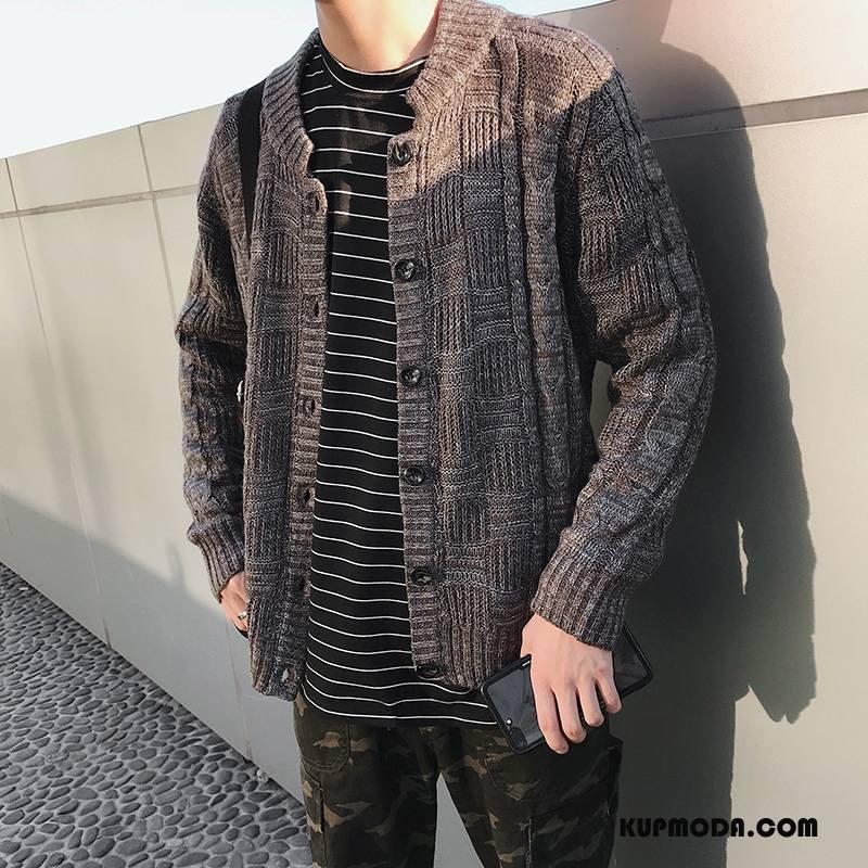 Swetry Męskie Sweter Rozpinany Duży Rozmiar Męska Kawowy