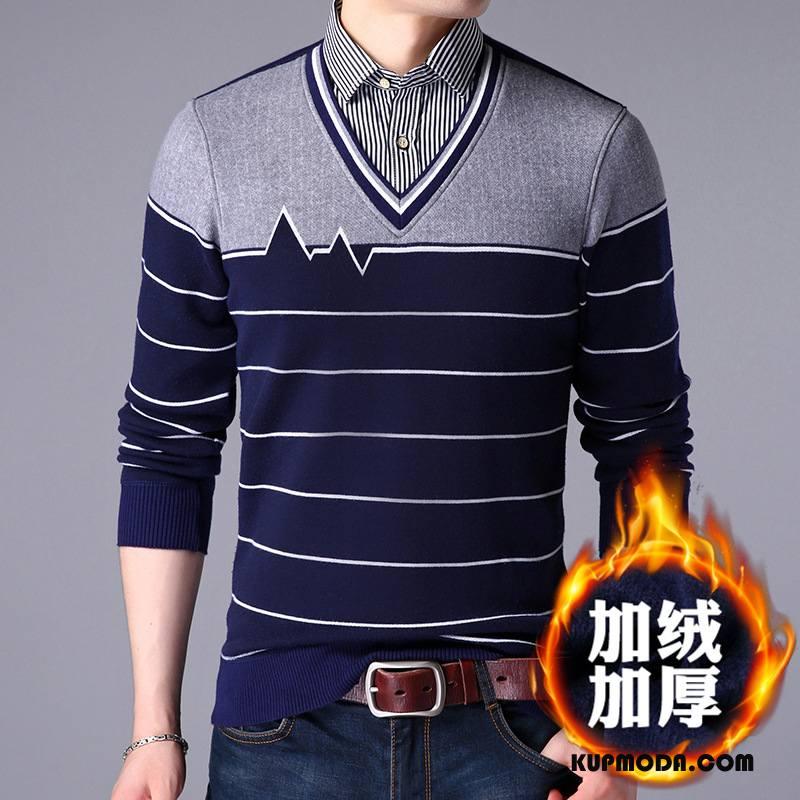 Swetry Męskie Sweter Slim Fit Plus Kaszmir Kołnierzyk Koszulowy Męska Zima Ciemno Niebieski