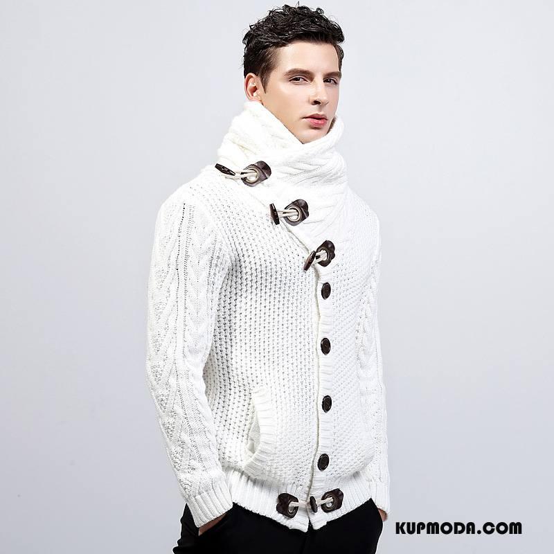 Swetry Męskie Sweter Wysoki Kołnierz Męska Płaszcz 2018 Zima Biały