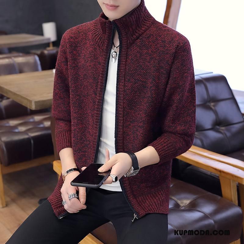 Swetry Męskie Sweter Wysoki Kołnierz Sweter Rozpinany Młodzież Płaszcz Plus Kaszmir Czerwony