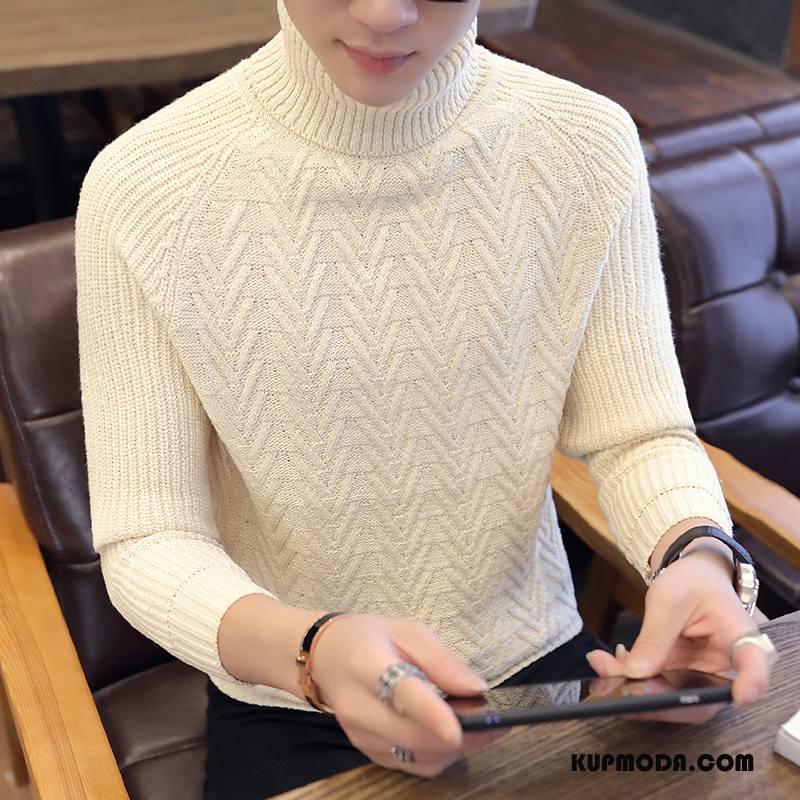 Swetry Męskie Sweter Zima Męska Ciepłe Podkoszulek Jesień Beżowy