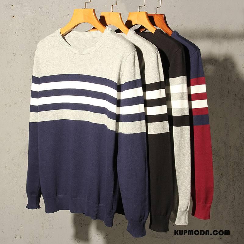 Swetry Męskie W Paski Moda Okrągły Dekolt Sweter Tendencja Slim Fit Niebieski