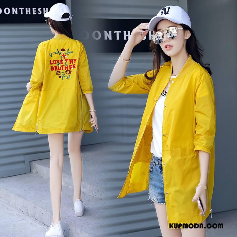 Ubrania Uv Damskie 2018 Rękawy Sun Odzież Ochrona Moda Cienkie Szerokie Żółty
