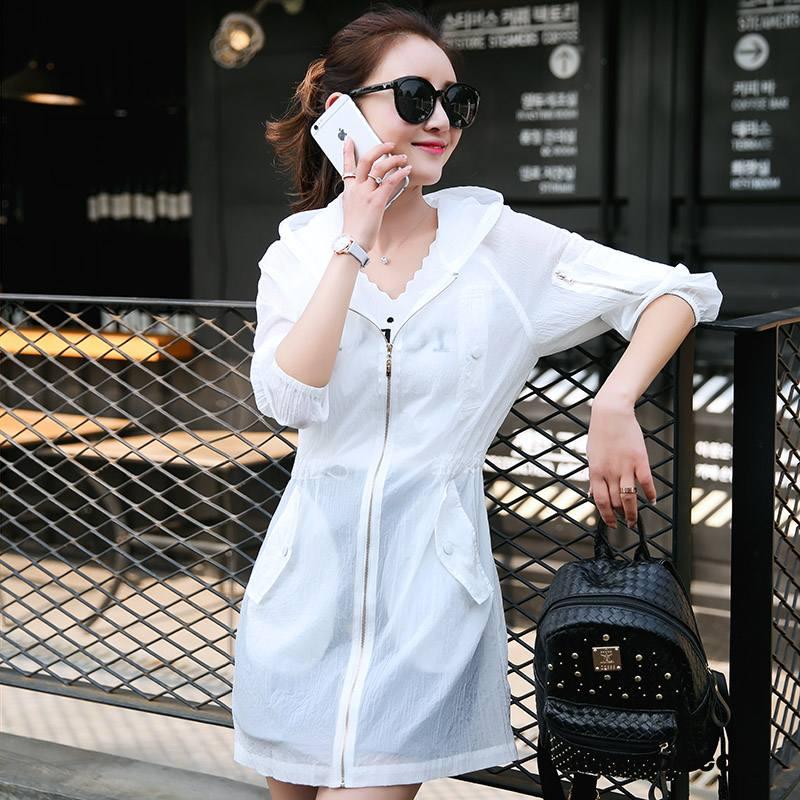 Ubrania Uv Damskie Cienkie Długi Rękaw Długie Płaszcz Z Kapturem Wiosna Czysta Biały