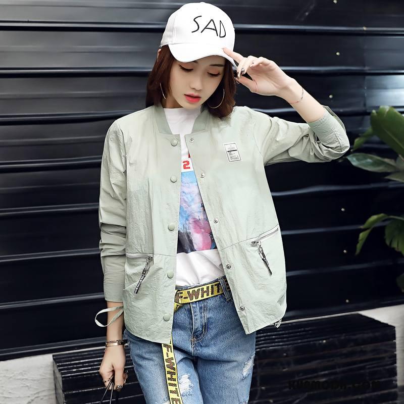 Ubrania Uv Damskie Długi Rękaw Sun Odzież Ochrona Proste Moda Lato Cienkie Zielony