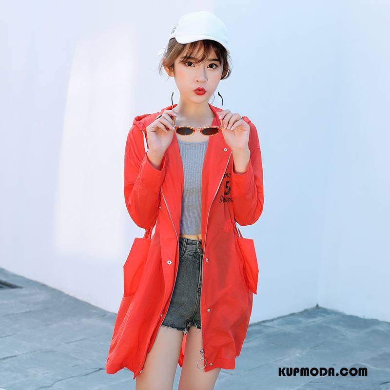 Ubrania Uv Damskie Długie Moda Proste Sun Odzież Ochrona 2018 Lato Oranż Czerwony