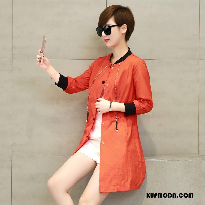 Ubrania Uv Damskie Długie Sun Odzież Ochrona Proste Zamek Cienkie 2018 Czysta Oranż