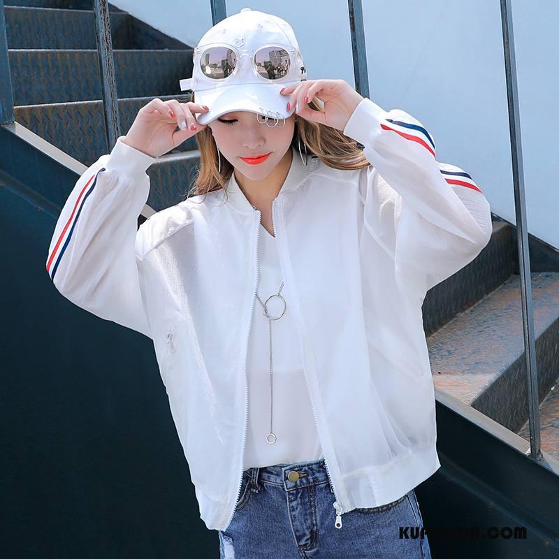 Ubrania Uv Damskie Eleganckie Moda Lato Płaszcz Proste Krótkie Biały