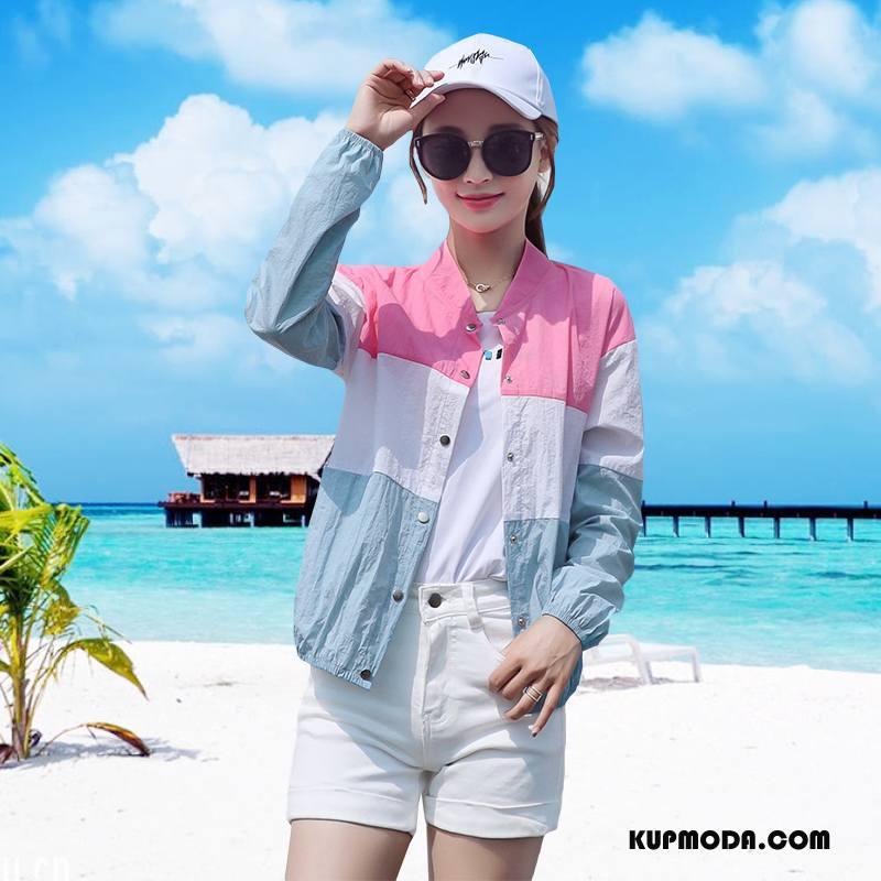 Ubrania Uv Damskie Lato Eleganckie Słodkie Slim Fit Tendencja Sun Odzież Ochrona Różowy