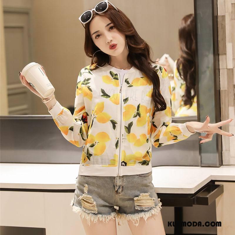 Ubrania Uv Damskie Moda Drukowana Proste Sun Odzież Ochrona Jesień Zamek Żółty