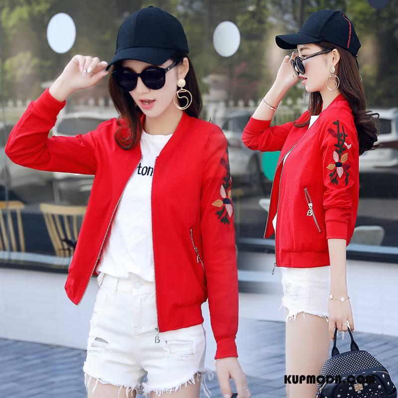 Ubrania Uv Damskie Okrągły Dekolt Długi Rękaw Szerokie Sun Odzież Ochrona Moda 2018 Czerwony