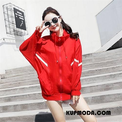 Ubrania Uv Damskie Proste Wygodne Slim Fit Eleganckie Lato Długi Rękaw Czysta Czerwony
