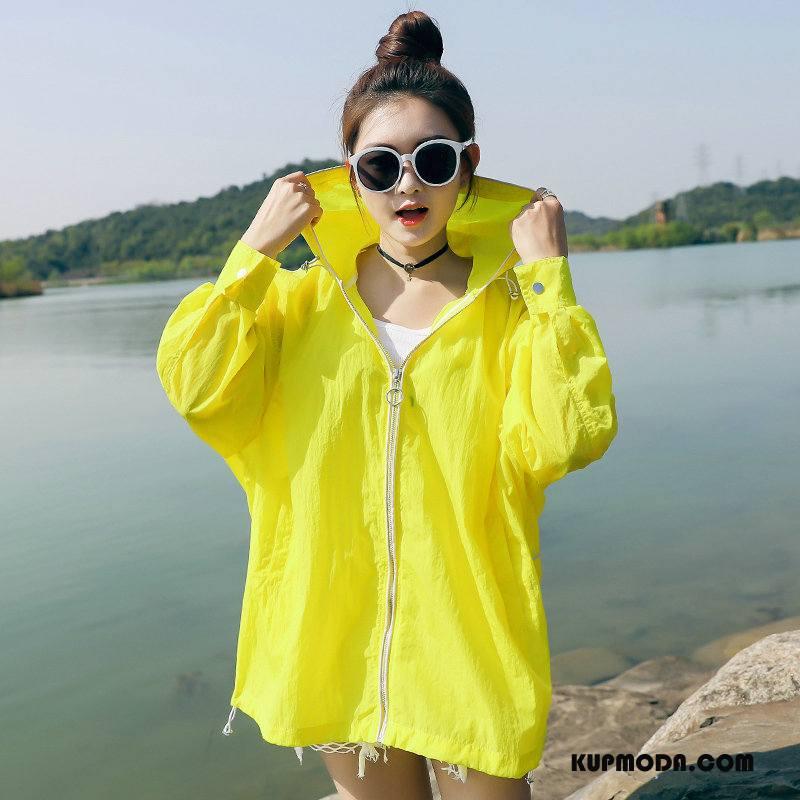 Ubrania Uv Damskie Sun Odzież Ochrona Z Kapturem Miasto Casual 2018 Wygodne Czysta Żółty