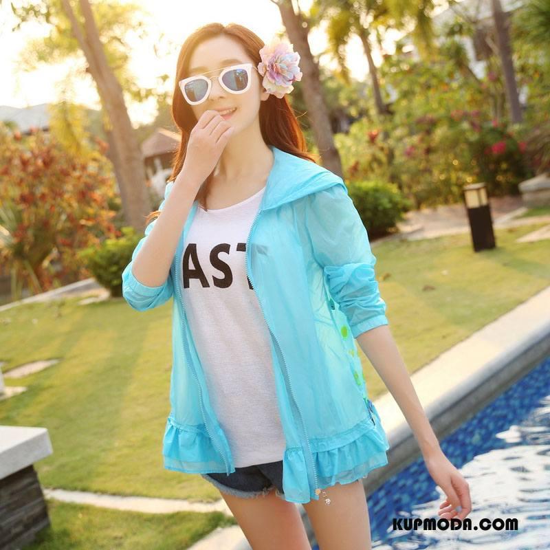 Ubrania Uv Damskie Szerokie Słodkie Moda Z Kapturem Sun Odzież Ochrona Cienkie Czysta Niebieski