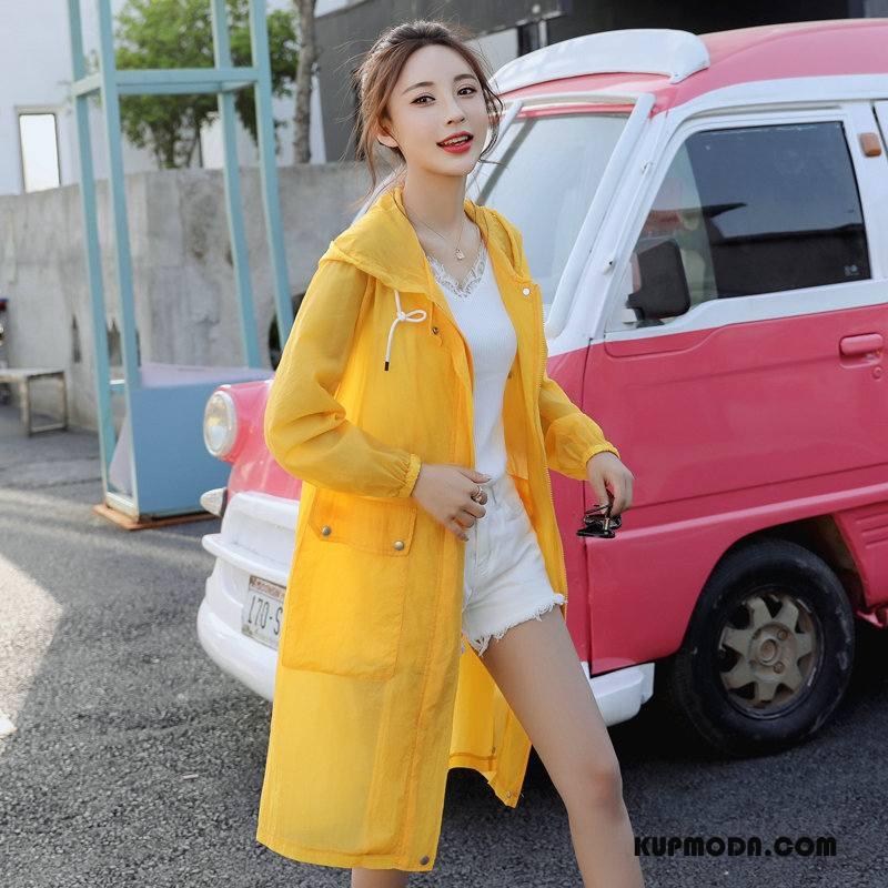 Ubrania Uv Damskie Z Kapturem Osobowość Tendencja 2018 Slim Fit Długi Rękaw Żółty